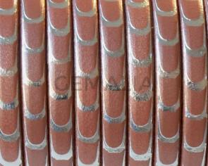Cuero Plano 5x1,5mm. Escamas.Rosa metalizado-plata.Calidad sup