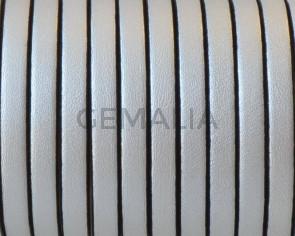 Cordon de Cuero Plano 5x1,5mm. Plata metalizado 2 - cantos negros. Calidad Superior. Precio Especial