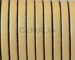 Cordon de Cuero Plano 5x1,5mm. Oro metalizado 2 - cantos negros. Calidad Superior. Precio Especial