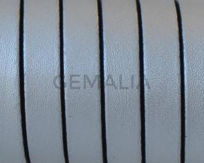 Cordon de Cuero Plano 10x1,5mm. Plata metalizado 2 - cantos negros. Calidad Superior. Precio Especial
