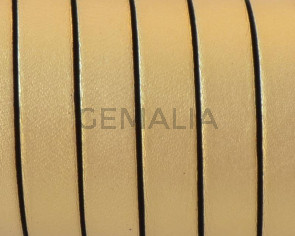 Cordon de Cuero Plano 10x1,5mm. Oro metalizado 2 - cantos negros. Calidad Superior. Precio Especial
