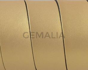 Cuero Plano 20x1,5mm.Oro metalizado 2-Cantos negros. Calidad Superior