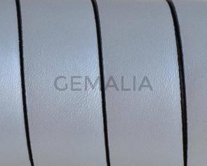 Cuero Plano 20x1,5mm. Plata metalizada 2-Cantos negros. Calidad Superior