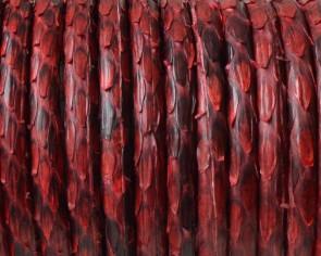 Serpiente Piton. Redondo 4mm. Hueco. Rojo. Int.0,8mm aprox. Calidad Superior