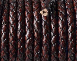 Cuero Trenzado Redondo 5mm. Marron vintage. Calidad superior
