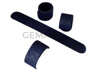 Pulsera de Cuero. 220x20mm .Pez raya-azul marino. Adaptable. Calidad Superior