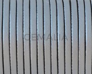 Cuero Plano 3x1,5mm. Plata metalizado 2-cantos negros. Calidad Superior