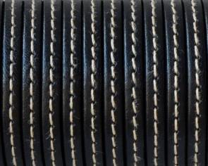 Cordon de Cuero Plano cosido. 5x1,5mm. Negro. Calidad superior. Precio Especial