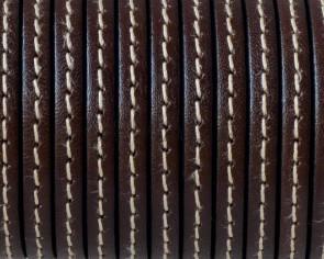 Cordon de Cuero Plano cosido. 5x1,5mm. Marron oscuro. Calidad superior. Precio Especial