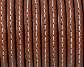 Cordon de Cuero Plano cosido. 5x1,5mm. Marron medio. Calidad superior. Precio Especial