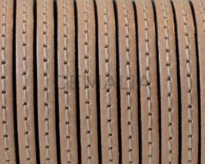 Cordon de Cuero Plano cosido. 5x1,5mm. Natural. Calidad superior. Precio Especial