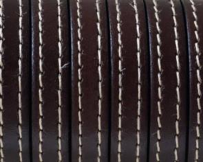 Cordon de Cuero Plano cosido. 10x2mm. Marron oscuro. Calidad superior. Precio Especial