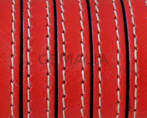 Cordon de Cuero Plano cosido. 10x2mm. Rojo. Calidad superior. Precio Especial