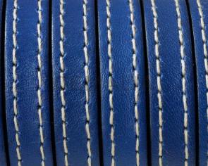 Cordon de Cuero Plano cosido. 10x2mm. Azul electrico. Calidad superior. Precio Especial