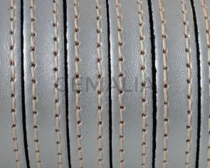 Cordon de Cuero Plano cosido. 10x2mm. Plata metalizada. Calidad superior. Precio Especial