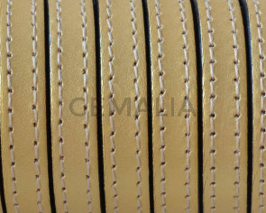 Cordon de Cuero Plano cosido. 10x2mm. Oro metalizado. Calidad superior. Precio Especial
