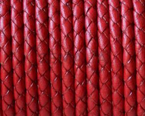 Cuero Trenzado Redondo 3mm. Rojo. Calidad superior.
