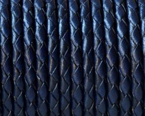 Cuero Trenzado Redondo 3mm. Azul marino. Calidad superior.
