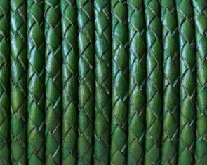 Cuero Trenzado Redondo 3mm. Verde. Calidad superior.