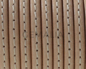 Cordon de Cuero. Plano cosido. 5x1,5mm. Natural - cantos al tono. Calidad superior. Precio Especial