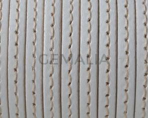 Cordon de Cuero. Plano cosido. 5x1,5mm. Blanco - cantos al tono. Calidad superior. Precio Especial