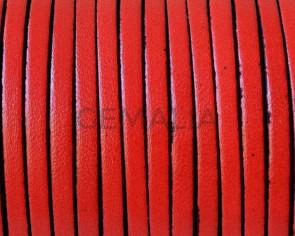Cuero Plano 3x1,5mm. Rojo-cantos negros. Calidad superior.