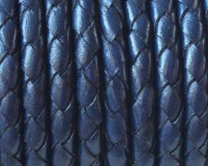 Cuero Trenzado redondo 5mm. Azul marino. Calidad superior.