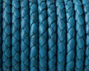 Cordon de cuero Trenzado redondo 5mm. Turquesa. Calidad superior.