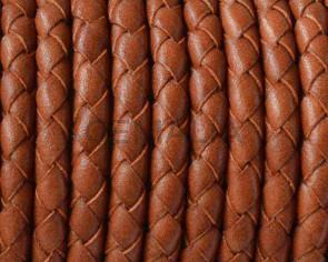 Cordon de cuero Trenzado redondo 5mm. Marron medio. Calidad superior.