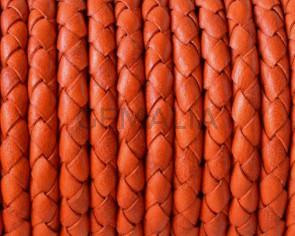 Cordon de cuero Trenzado redondo 5mm. Naranja. Calidad superior.