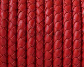 Cordon de cuero de serpiente trenzado redondo 5mm. Rojo. Calidad superior.