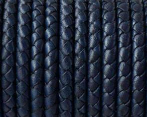 Cordon de cuero de serpiente trenzado redondo 5mm. Azul marino. Calidad superior.