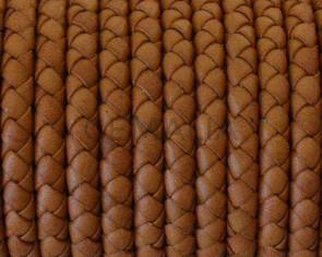 Cordon de cuero de serpiente trenzado redondo 5mm. Marron claro. Calidad superior.