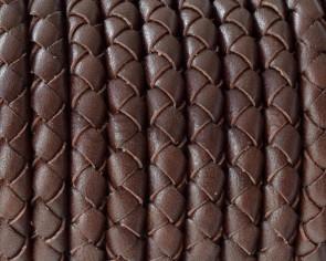 Cordon de cuero de serpiente trenzado redondo 5mm. Marron medio. Calidad superior.