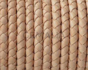 Cordon de cuero de serpiente trenzado redondo 5mm. Natural. Calidad superior.