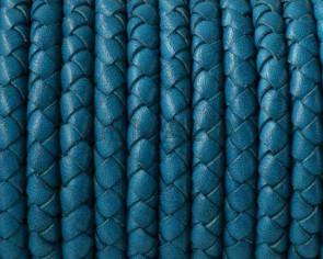 Cordon de cuero de serpiente trenzado redondo 5mm. Turquesa. Calidad superior.
