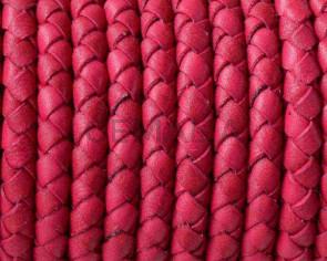 Cordon de cuero de serpiente trenzado redondo 5mm. Fucsia. Calidad superior.