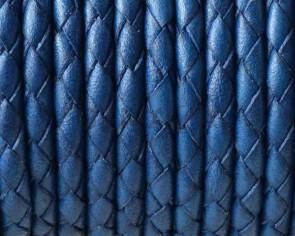 Cordon de Cuero trenzado redondo 4mm. Azul electrico. Calidad superior.