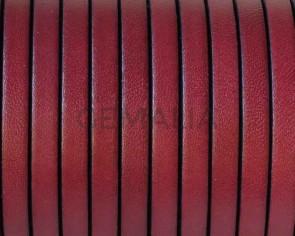 Cordon de cuero Plano 5x1,5mm. Burdeos-cantos negros. Calidad superior.