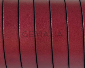 Cordon de cuero Plano 10x1,5mm. Burdeos-cantos negros. Calidad superior.