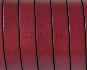 Cordon de cuero Plano 10x1,5mm. Burdeos-cantos negros. Calidad superior. Precio Especial
