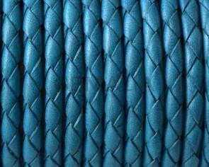 Cordon de Cuero trenzado redondo 4mm. Azul turquesa. Calidad superior.