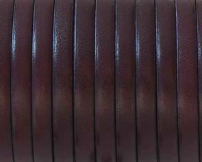 Cordon de cuero Plano 5x1,5mm. Granate-cantos negros. Calidad superior. Precio Especial
