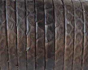 Piel de serpiente Piton. Tira doblada 5x1,5mm. Marron oscuro. Calidad superior.