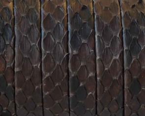 Piel de serpiente Piton. Tira doblada 9x1,5mm. Marron oscuro. Calidad superior.