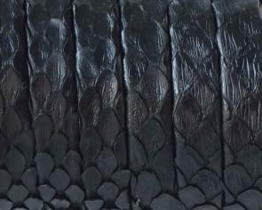 Piel de serpiente Piton. Tira doblada 9x1,5mm. Negro. Calidad superior.