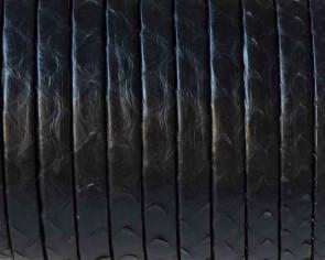 Piel de serpiente Piton. Tira doblada 5x1,5mm. Negro. Calidad superior.
