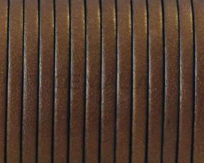 Cordon de cuero Plano 3x1,5mm. Oro viejo metalizado-cantos negros. Calidad superior.
