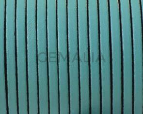 Cordon de cuero Plano 3x1,5mm. Verde mar-cantos negros. Calidad superior.