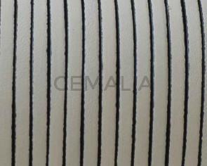 Cordon de cuero Plano 3x1,5mm. Crudo-cantos negros. Calidad superior.